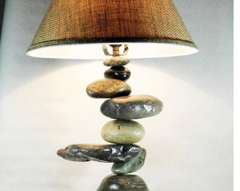 BALANCED  ROCK Rustic Table Lamp, colored rocks that will fit into any decor, including , Primitive, Western, Southwestern, Hunting lodge