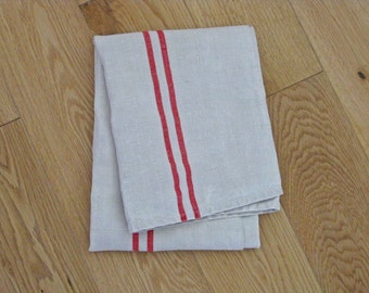 white linen tea towel, French monogrammed torchon AO, french country chic
