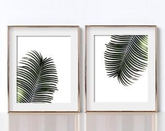 Botanical Print Set of 2 Digital Download Botanical Photography Botanical Art Print Jungle Leaves Print Green and White Prints Botanical Art