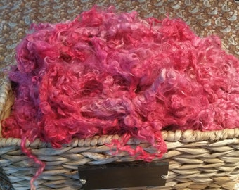 Hand Dyed Mohair Locks and Fleece 1 oz. **Cotton Candy Pink**