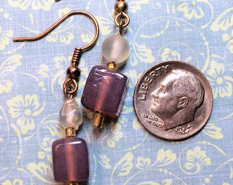 Violet and hazy white glass bead earring