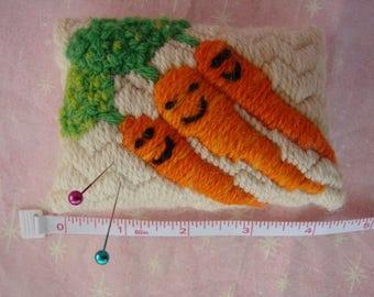 Original bunch of Smiling Carrots Handmade Needlepoint Pincushion