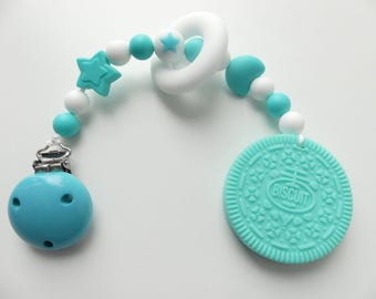 Biting chain silicone cookie biscuit turquoise