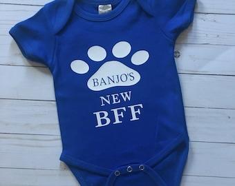 Dog BFF Onesie, dog onesie, best friend onesie, paw print onesie