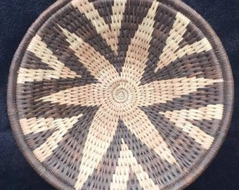 Ethnic Polychrome Woven Basket