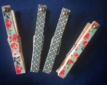 Cute Vintage Style Clothespin Magnets, Floral Flower Blue