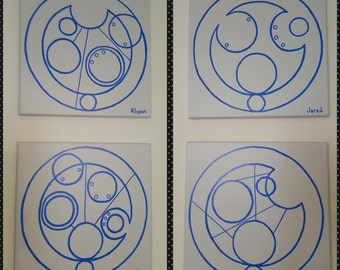 Gallifreyan Circle Personalized Name Painting inspired from Dr Who