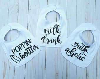 Funny Baby Bib, Infant Feeding, Milk Drunk, Poppin Bottles, Milkaholic, Toddler Meal, Meal Accessories, Funny Burp Cloth, Baby Shower Gift