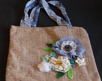 hand bag,shabby chic style bag,vintage style bag,cloth bag,handmade handbag, womens tot bag,unique Handbag, bag with pockets,large tote