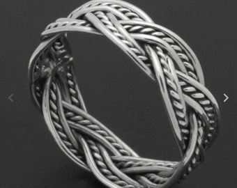 Handmade Sterling Silver Braided Oxidize Finish Band Ring