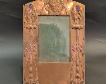 Exquisite Egyptian Revival Frame With Cabochon Amethyst Stones