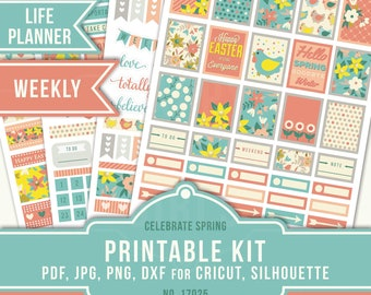 Printable Planner Stickers, Cricut PNG, Silhouette, Erin Condren April Sticker Kit, WeeklyStickers, Floral Planner Stickers, 17025