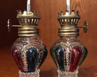 Vintage/Antique multi colored glass miniature oil/hurricane/kerosene lamps