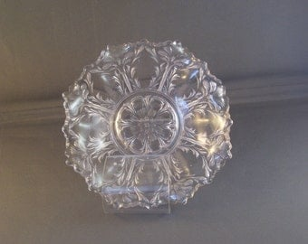 Small Antique Lacey Pressed Glass Candy Dish