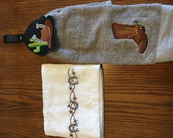 Embroidered Towel Holder & Embroidered Towels