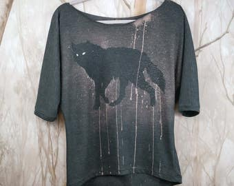 Blouse With Wolf, Size S, Dark Gray Bleached Cotton