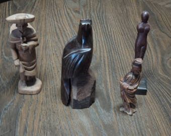Vintage Hand Carved Wooden Falcon,Figurines