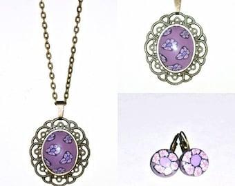 Set necklace, vintage cameo, artisan set, necklace romantic, necklace purple, Flower necklace.