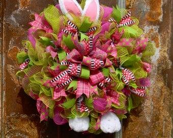 Easter Wreath, Easter Bunny Wreath, Front Door Wreath, Deco Mesh Wreath, Bunny Ears Wreath, Easter Decor, Spring Wreath, Bunny Ears Wreath