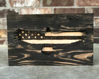 wood burned american eagle american flag wall art