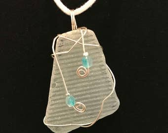 Textured beach glass pendant #3