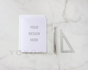 Flatlay Styled Stock, Greeting Card Mockup, Styled Stock Photography, Blank Card, Mock Up, Styled Desk Top, Product Photography