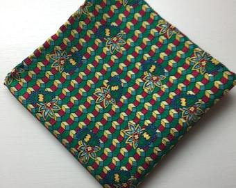 Men's Italian Lake Como Silk Pocket Square, Printed Silk Pocket Square, Hand Rolled Hem Silk Pocket Square