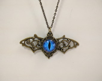 Blue Dragon Eye Wing Necklace