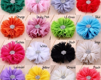 """3"""" 16colors Artificial Frayed Chiffon Flower With Snow Rhinestone Button Fluffy Fabric Flowers For Baby Headbands Handmade Craft Flowers"""