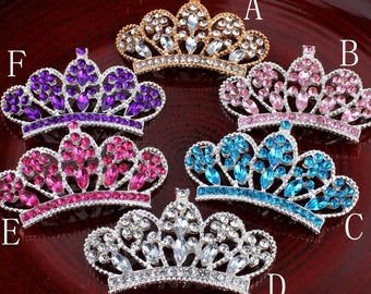 6colors 56*33MM Vintage Handmade Metal Rhinestone Button Bling Alloy Crystal Flatback Crown/Tiara Buttons for Hair accessories Wholesale