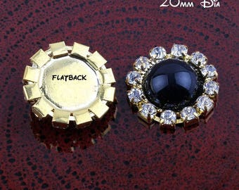 Black Rhinestone Buttons Crystal Buttons Pearl Buttons Alloy Buttons Metal Buttons Flatback Buttons
