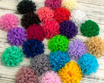 4inch Vintage Burned Edge Chiffon Flowers For Children Hair Accessories Artificial Fabric Flowers For Headbands