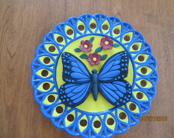 Decorative plate with butterfly
