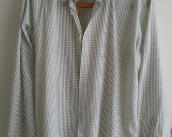 Vintage checked cotton shirt. Green and white large. Country style.