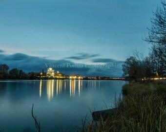 Photography color blue hour on the Saône - France / France Fine Art Photography of Landscapes