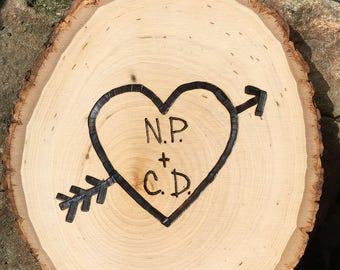 Custom - Names Carved in a Tree - Wood sign - select design