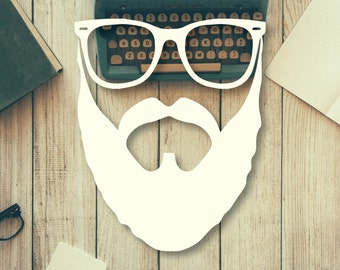 Hipster Glasses and Beard Vinyl Decal