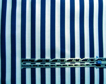 Navy White Stripe Fabric Cotton By the Yard 36 Inches Long