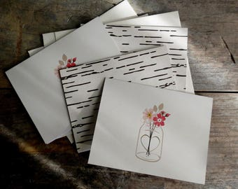 Set of Blank Cards  Flowers in Vase Cards  Set of 4 Cards with Envelopes