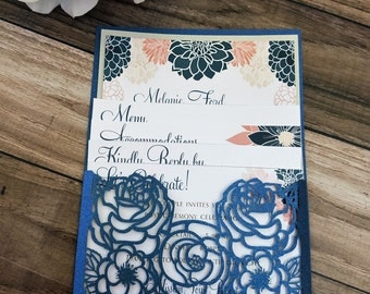 Elegant Navy Blue Floral Wedding Invitation