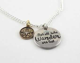 Not all who wander are lost, charm necklace, Not all who wander are lost pendant, silver pendant, silver charm,  Gold compass charm