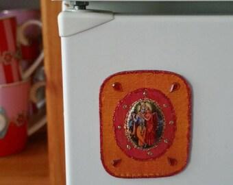 Super nice fridge magnet with Krishna and Rhada