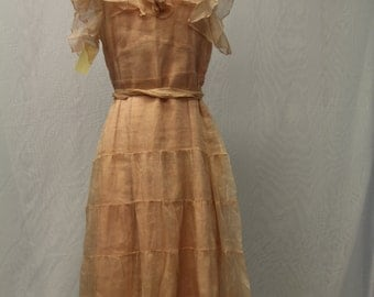 1920's Pink Tulle Dress with Collar, Two layers and a Sash
