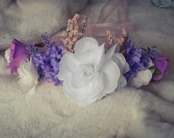 Romantic flower crown White and purple