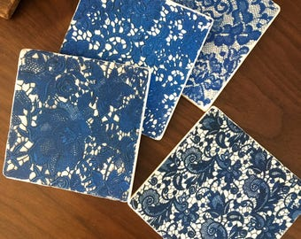 Blue Lace Tiles- stone coasters, set of 4