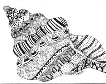 Shell Zen Doodle Colouring Page