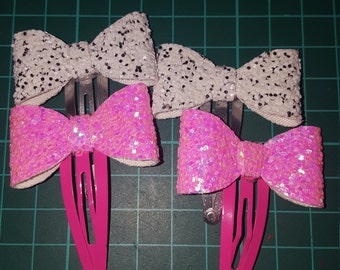 Pink and white hair clips