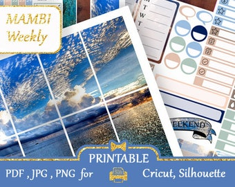 MAMBI 2018 Clouds Blue Sea Printable Happy Planner Stickers Weekly Kit Vertical Happy Planner Silhouette Cricut Digital Stickers COUPON code