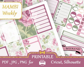 Mambi Happy Planner Stickers Weekly kit Pink Roses Planner Stickers Flowers Stickers MAMBI Printable Vertical Stickers, Silhouette, Cricut