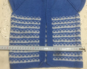 Cute Hand Knitted Blue and White Patterned Baby Sweater